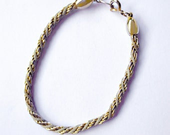 TRIFARI Gold Rope and Soutash Braid inter-twined  BRACELET   7 1/4""