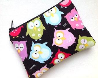 Zipper Coin Purse Padded Zipper Pouch Change Purse Small Gadget Bag Card Case Small Camera Bag OWLS -Black Pinks Green