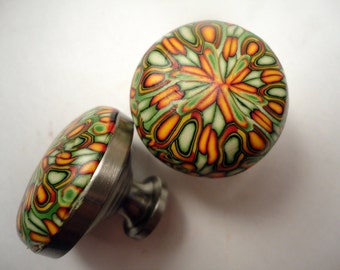 Cabinet Knobs / Pulls polymer clay 6 handmade decorative knobs  Metal  dresser knobs  Rust, Mustard yellow and Green
