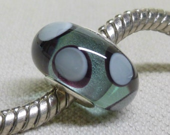 Handmade Lampwork Bead Silver Cored Glass Charm Bead Transparent Gray with Black and Gray Dots