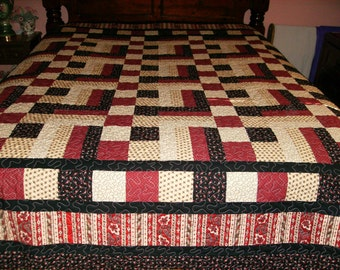 Four Patch and a Rail Block Queen Size Quilt