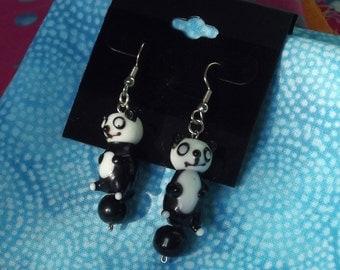 Panda or Penguin Kawaii Glass Bead Earrings
