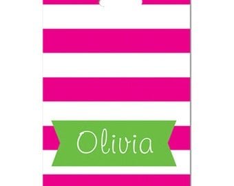 Personalized luggage tag Fuschia cabana stripes green monogram or choice of colors