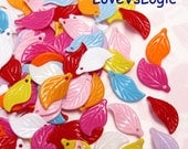 80 Acrylic Leaf Beads Charms. Mix Colors