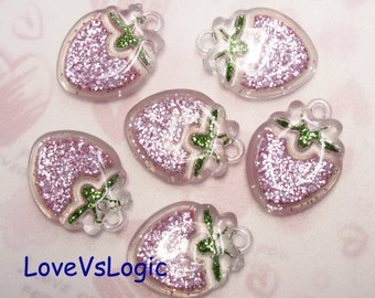5 Puff Glitter Strawberry Lucite Charms. Glitter Pale Pink Tone.