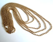 5-Row Gold Chain Necklace... c.1980s Vintage Beaded Chain