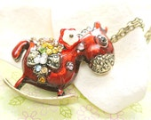 Red Horse Pendant with Red Flower Necklace, Rhinestone Red Horse Jewelry, Animal Jewelry