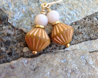 EARRINGS, PINK OPAL, Dangle, 5-6mm Pink Opal Round on Flat Goldfill Spacer, 10x10 mm Czech Diamond Shaped Bead