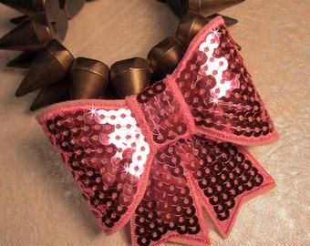 PINK SEQUIN BOW-Big Sequin Bow Hair Clip