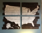 Handmade Map, Handpainted Map, Cedar Plank Wood USA Map, Giant 24x36 map, United States of America, Travel Decor, Wonderlust Art