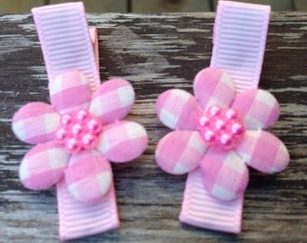 Pink Flower Hair Clips - No Slip Grips