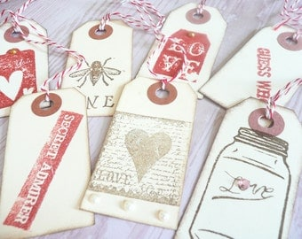 Hand-Stamped Valentines Gift Tags-7pc