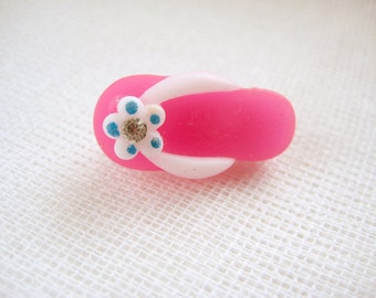 Small rhinestone flip flop pin brooch - Summer! in Dark Pink