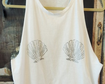 READY to ship! Seashell Mermaid Bikini Muscle Tank Top with swarovski rhinestones Ariel