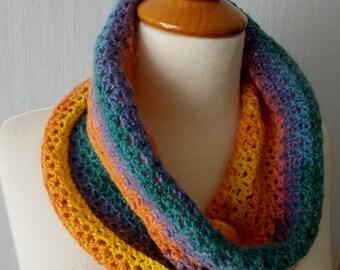 Rainbow Cowl Neck Warmer Crochet in Blue Green Purple Yellow Orange Pink