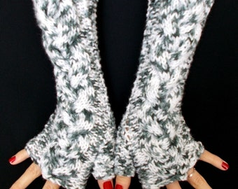 Fingerless Gloves  White Grey Tones Cabled  Wrist Warmers