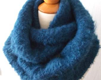 Circle Scarf Knitted Infinity Chunky Tube Scarf  In Smoke Blue SALE