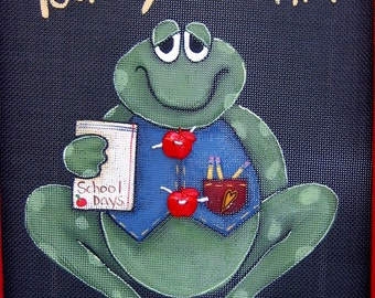 Tole Painting Pattern, School Time,Toad'ly Learning, Toad or Frog Pattern, Tole Painting, School Theme, Red Apples, Instructional Pattern