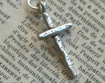 Fine Silver Rustic Artisan Cross Charm - Add On For Design Your Own By Inspired Jewelry Designs