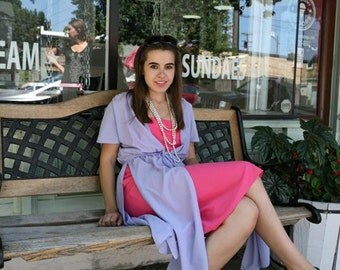 70s Vintage Dress: Pink and Purple Slip Tunic Dress, s-m