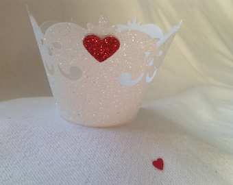 White Glitter with Red Heart Cupcake Liners - Set of 12