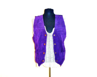 VIntage 80's Solid Purple Suede Leather Cowboy Vest with Gold Buttons Women's Medium