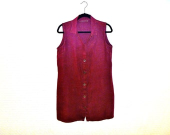 Vintage Maroon Linen Shirt Dress with Sleeveless Cut and Collar with Custom Buttons