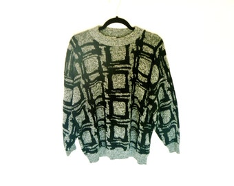 Vintage 80's Modern Print Woven Sweater from El Mar® California Men's Large