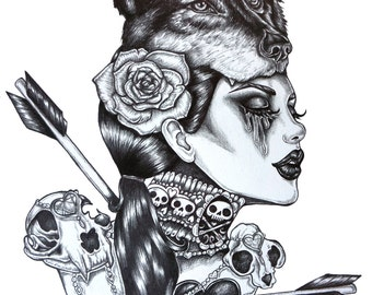 Lone Wolf  - Archival Print 12x16  inches  Dark Gothic Art Pin Up Tattoo Wolfs Head Arrows Heats Skulls Black and white drawing illustration