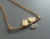 Gold Mother Necklace, Gold Love Birds with Silver Baby Bird - Also Available in Silver, Family Jewelry, Mom Baby Necklace, Engagement Gift