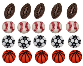 Jesse James Buttons Novelty Tiny Sports Themed Button Assortment Football Baseball Soccer Basketball