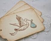 Boy Stork Tags Baby Shower Blue Favor Tags Set of 10