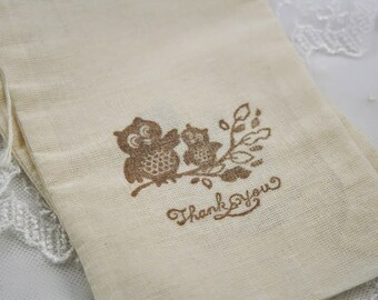 Owl Muslin Bags Thank You Baby Shower Bags Stamped Vintage Set of 10