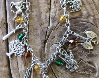 Little People Journey Fantasy Silver Charm and Crystal Bracelet