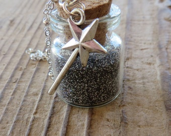 Twilight Wishes Apothecary Jar Necklace with Black Glitter and Silver Magic Wand Charm