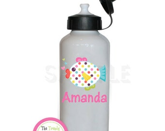 Polka Dot Fish Personalized Water Bottle