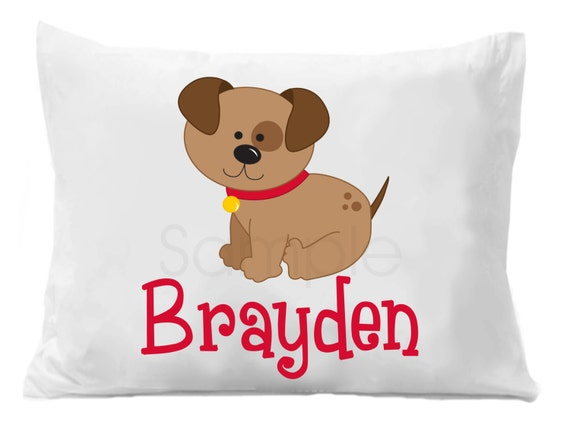 Puppy Dog Boys Personalized Pillow Case