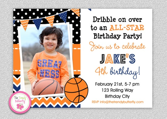 Basketball Birthday Invitation Basketball Birthday Party – Basketball Birthday Invitations