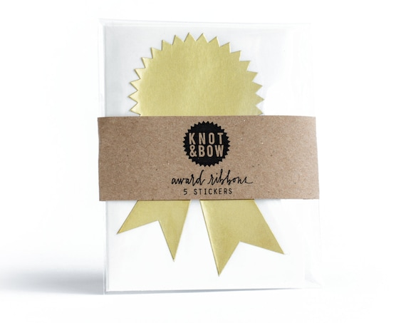 Gold Foil Award Ribbon Stickers / FREE SHIPPING