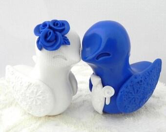 Love Birds Wedding Cake Topper, White and Royal Blue, Bride and Groom Keepsake, Fully Custom