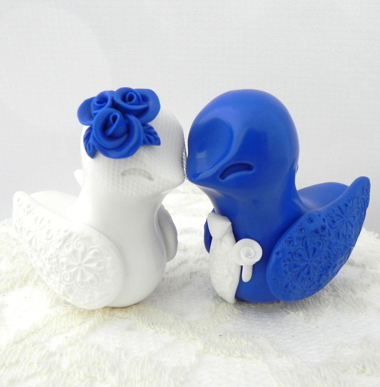 Wedding Cake Ideas Royal Blue: Love Birds Wedding Cake Topper White And Royal Blue Bride