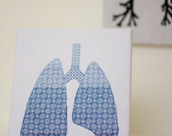 Blackwork embroidery lungs