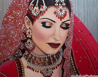 Custom Wedding Portrait - Indian Bride Painting - By Toronto Portrait Artist Malinda Prud'homme