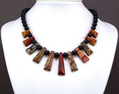 Multicolor Picasso Jasper & Matte Onyx Necklace - N240