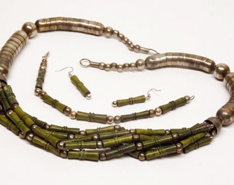 PARURE Necklace Bracelet Earrings SET Green Bamboo Silver Snake FAR East Exotic Bold Runway Handmade 70s Jewels Authentic Vintage Jewelry