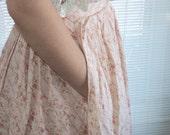 Pink Floral 1980s Bohemian Ralph Lauren Maxi Skirt