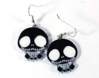 Black Nightmare before Christmas Enamel Charm Earrings / Cartoon Charms / Girls Earrings Jewelry Womens Earrings