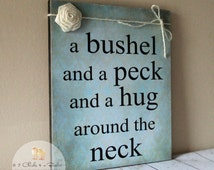 A Bushel And A Peck Sign With Burlap Roses, Baby Shower Gift, Handcrafted Sign, Nursery Sign