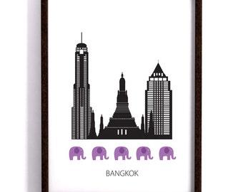 Bangkok poster, city, Art print, Scandinavian design, skyline, modern poster