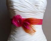 Pink and Orange Peacock Bridal Sash - BAYLEE MINI - Fuchsia and Orange Peacock Sash for a Flower Girl